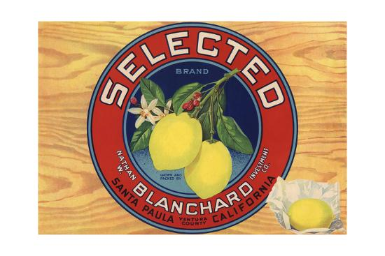 Selected Brand - Santa Paula, California - Citrus Crate Label-Lantern Press-Art Print
