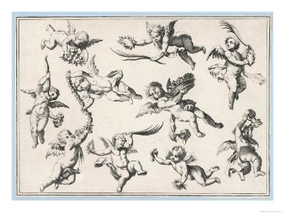 Selection of Cherubs in Various Positions--Giclee Print