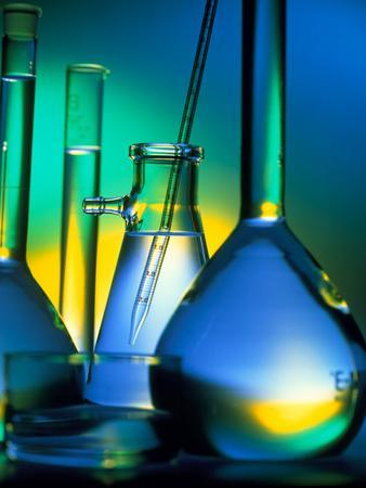 Selection of Glassware Used In Chemical Research-Tek Image-Premium Photographic Print