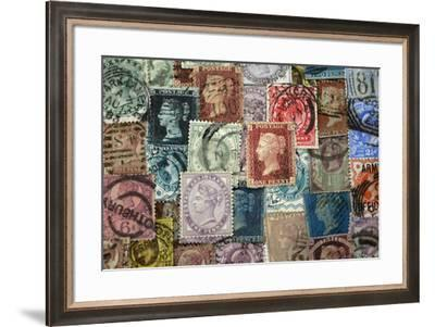 Selection of old British Stamps-Tom Quartermaine-Framed Giclee Print