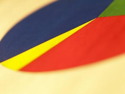 Selective Focus of Colorful Company Pie Chart--Photographic Print