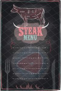 Steak Menu Chalkboard Design with Cow Steak Diagram by Selenka