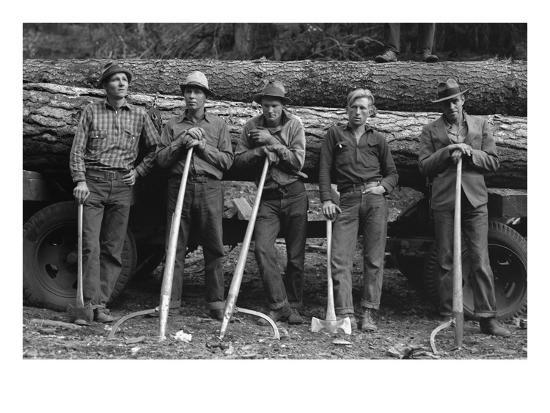 Self-Help Sawmill Workers-Dorothea Lange-Art Print