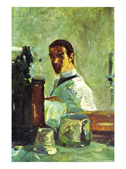 Self Portrai Looking In a Mirror-Henri de Toulouse-Lautrec-Art Print
