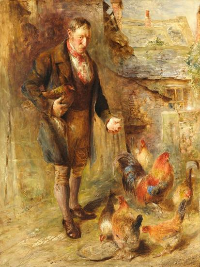 Self Portrait Aged 38 with Chickens-William Huggins-Giclee Print