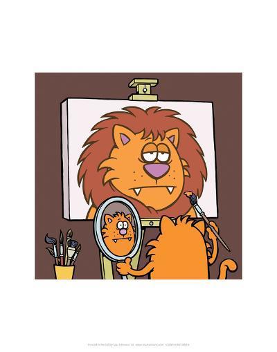 Self Portrait - Antony Smith Learn To Speak Cat Cartoon Print-Antony Smith-Art Print