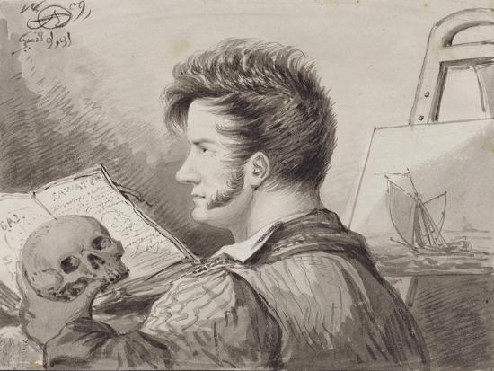 Self-Portrait as a Young Man with Skull, (Pencil, Ink and W/C on Paper)-Alexander Orlowski-Giclee Print
