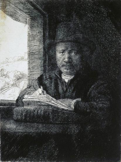 Self-Portrait Drawing by a Window, 1648-Rembrandt van Rijn-Giclee Print