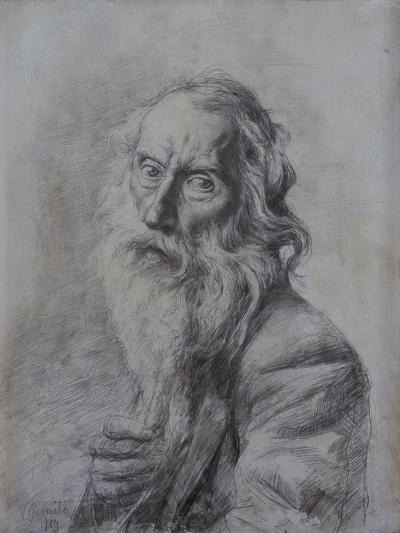 Self-Portrait Drawing-Vincenzo Gemito-Art Print