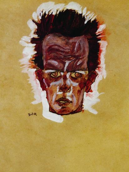 Self Portrait Head 1910 Giclee Print By Egon Schiele