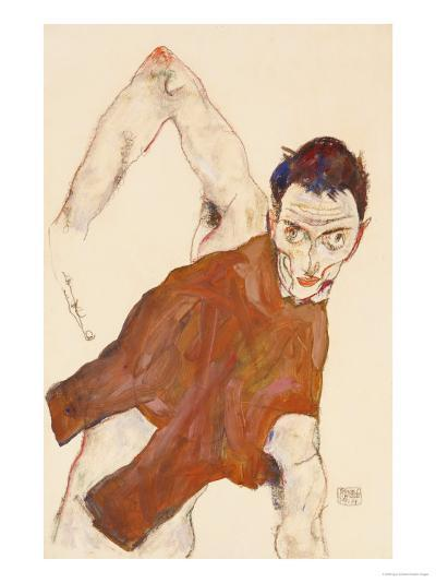 Self Portrait in a Jerkin with Right Elbow Raised, 1914-Egon Schiele-Giclee Print