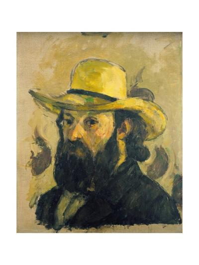 Self-Portrait in a Straw Hat-Paul C?zanne-Giclee Print