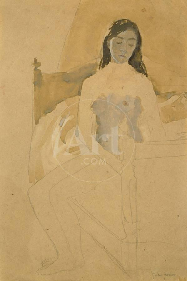 Self Portrait, Naked, Sitting on a Bed Giclee Print by Gwen John | Art.com
