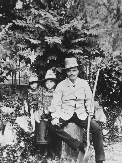 Self Portrait of August Strindberg, with His Children in the Country, 1886-August Johan Strindberg-Photographic Print