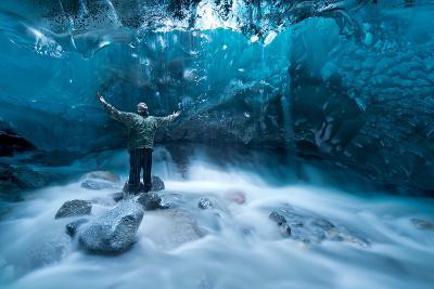 Self Portrait under a Glacier-Jonathan Tucker-Photographic Print