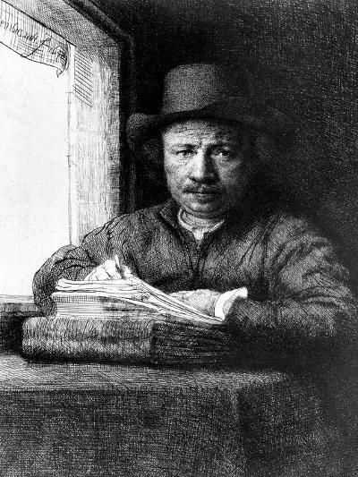 Self Portrait While Drawing, 1648 (Etching)-Rembrandt van Rijn-Giclee Print