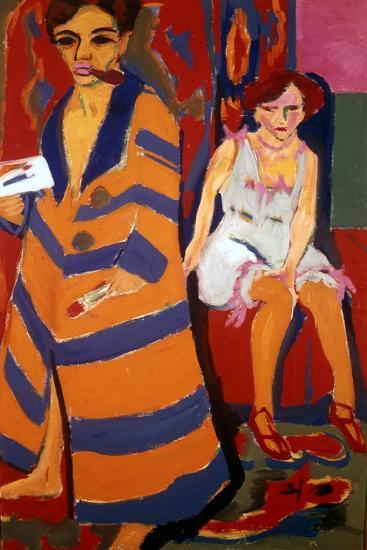 Self Portrait with a Model, 1907-Ernst Kirchner-Giclee Print