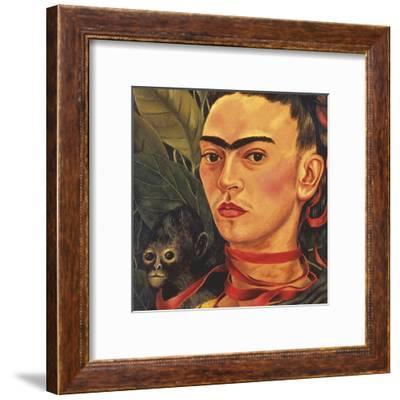 Self Portrait with a Monkey, c.1940 (detail)-Frida Kahlo-Framed Art Print