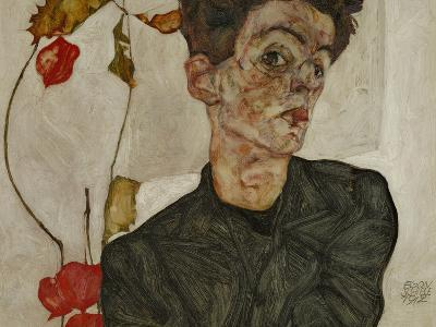 Self-Portrait with Chinese Lantern and Fruits-Egon Schiele-Giclee Print