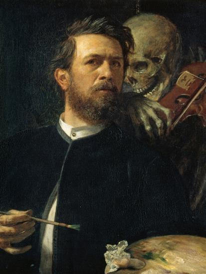 Self-Portrait with Death Playing the Fiddle, 1872--Giclee Print