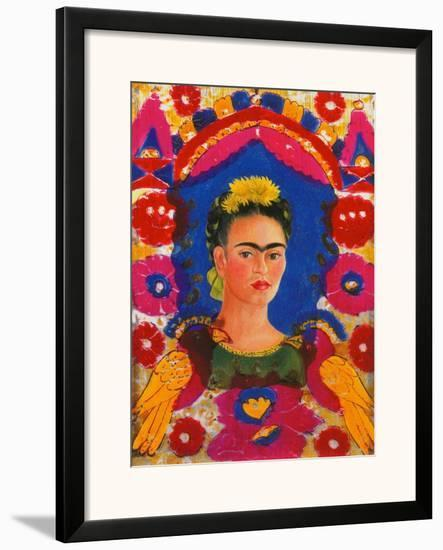 Self-Portrait with Flowers-Frida Kahlo-Framed Giclee Print