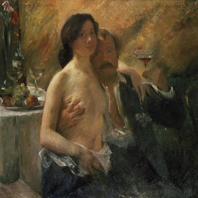 Self-Portrait with His Wife and Sekt Glass, 1902-Lovis Corinth-Giclee Print