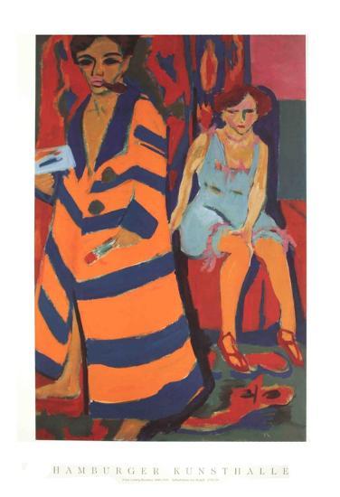 Self-Portrait with Model-Ernst Ludwig Kirchner-Art Print
