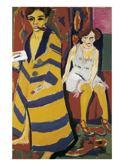 Self-Portrait with Model-Ernst Ludwig Kirchner-Art Print