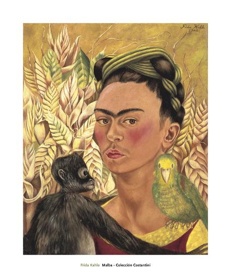 Self-Portrait with Monkey and Parrot, c.1942-Frida Kahlo-Art Print