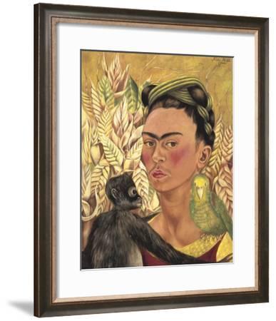 Self-Portrait with Monkey and Parrot, c.1942-Frida Kahlo-Framed Art Print