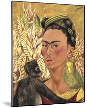 Self-Portrait with Monkey and Parrot, c.1942-Frida Kahlo-Mounted Art Print