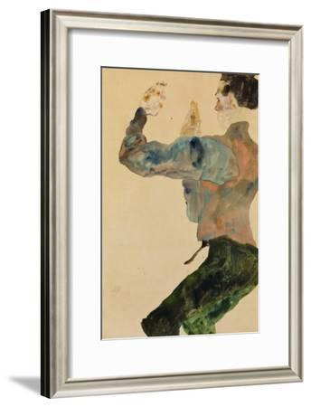 Self-Portrait with Raised Arms, Rear View, 1912-Egon Schiele-Framed Giclee Print