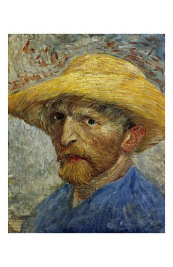 6b5665e1f33 Self-Portrait with Straw Hat Art Print by Vincent van Gogh