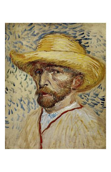 Self-Portrait with Straw Hat-Vincent van Gogh-Art Print