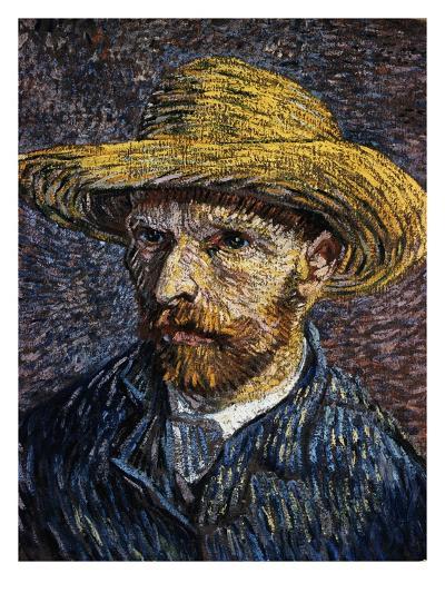 Self-Portrait with Straw Hat-Vincent van Gogh-Giclee Print