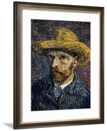Self-Portrait with Straw Hat-Vincent van Gogh-Framed Giclee Print