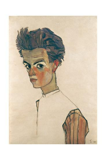 Self-Portrait with Striped Shirt-Egon Schiele-Giclee Print