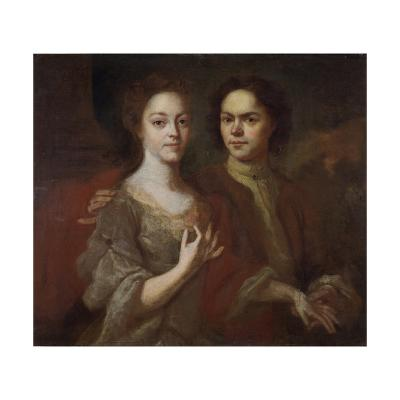 Self-Portrait with the Wife, C. 1729-Andrei Matveyevich Matveyev-Giclee Print