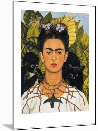 Self-Portrait with Thorn Necklace and Hummingbird, c.1940-Frida Kahlo-Mounted Print