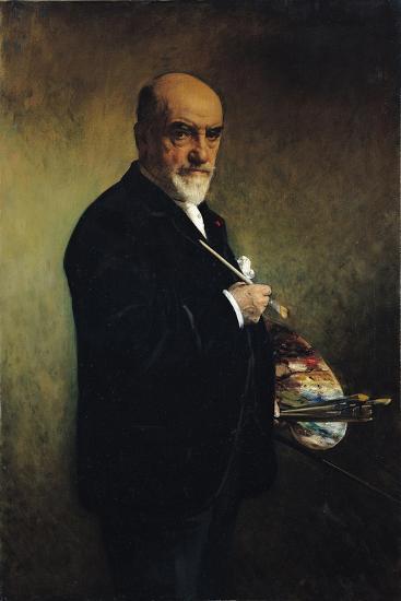 Self Portrait-Leon Joseph Florentin Bonnat-Stretched Canvas Print