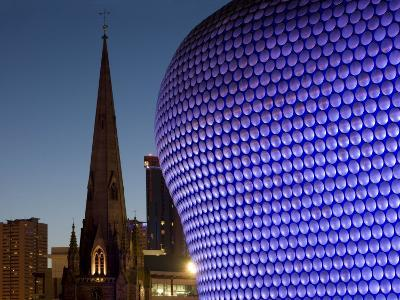 Selfridges and St. Martin's Church at Dusk, Birmingham, England, United Kingdom, Europe-Charles Bowman-Photographic Print