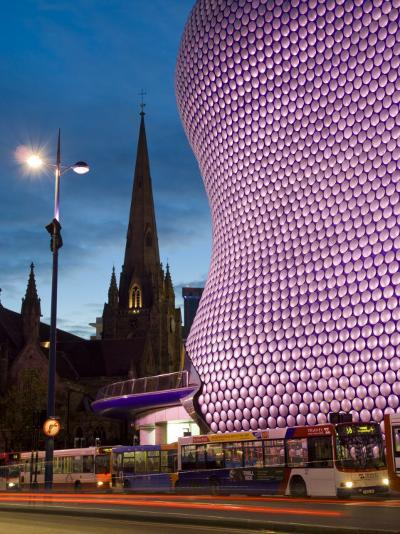 Selfridges and St. Martins Church at Dusk, Birmingham, England, United Kingdom, Europe-Charles Bowman-Photographic Print