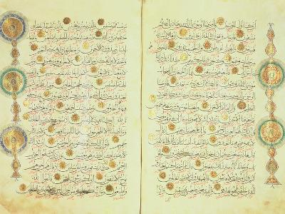 Seljuk Style Koran with Illuminated Sunburst Marks and Small Trees in the Margin--Giclee Print
