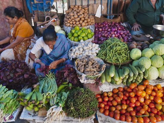 Selling Fruit in Local Market, Goa, India-Keren Su-Photographic Print