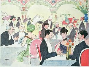 Noel Peter's Restaurant in Paris, 1914 (Colour Litho) by Sem