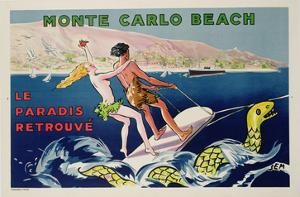 Poster Advertising Monte Carlo Beach, Printed by Draeger, Paris, C.1932 (Colour Litho) by Sem