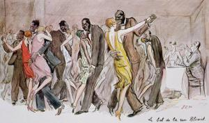 """Reproduction of """"The Ball at the Rue Blomet,"""" December 1929 by Sem"""