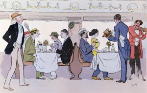 Restaurant Car in the Paris to Nice Train, 1913 by Sem