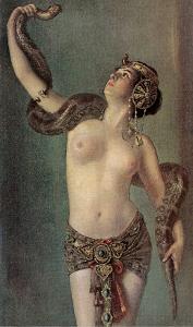 Semi-Naked Egyptian Woman with Python