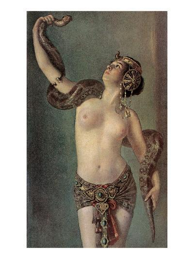 Semi-Naked Egyptian Woman with Python--Art Print